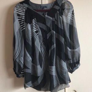 Anne Klein L women's black and white blouse